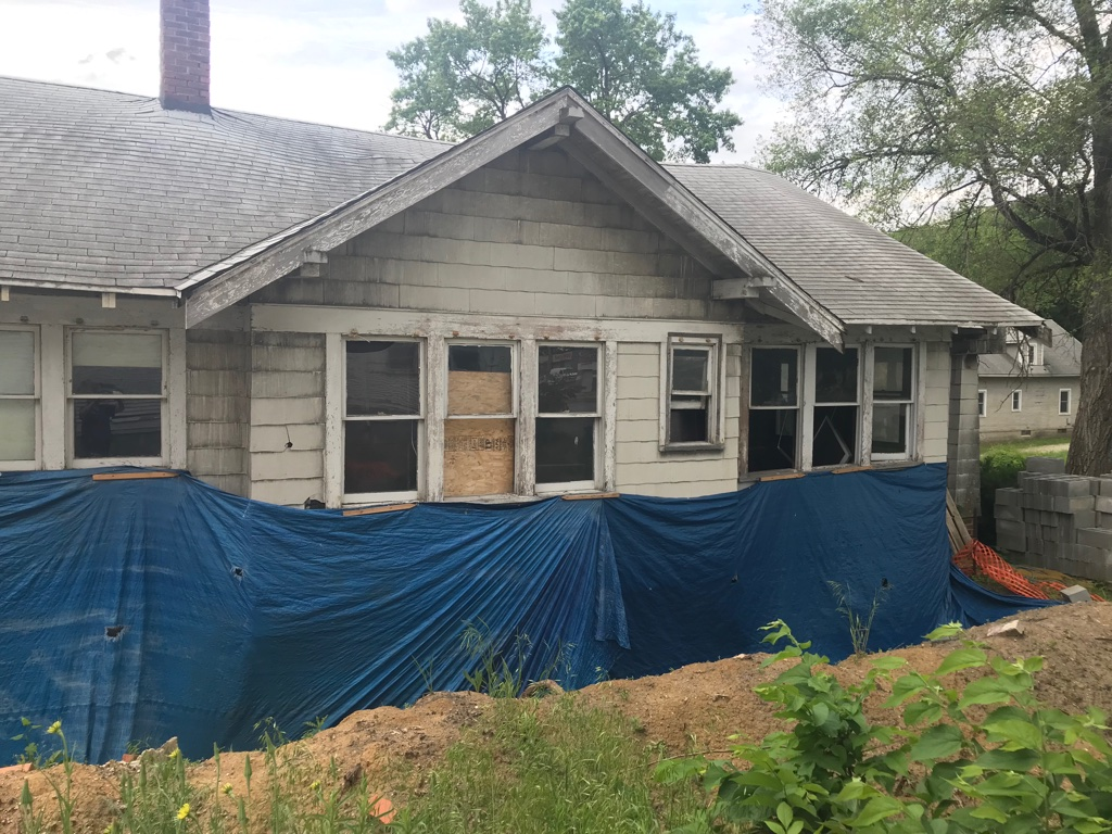 This Des Moines house remains unfinished, even though the customer gave contractor Dale Terry $28,800 to do repairs. Terry provided no repairs beyond demolishing a basement floor and wall, leaving the house in worse shape.